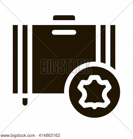 Leather Luggage Glyph Icon Vector. Leather Luggage Sign. Isolated Symbol Illustration