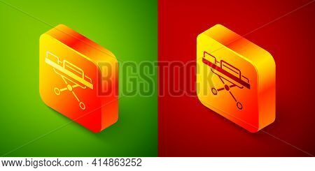 Isometric Stretcher Icon Isolated On Green And Red Background. Patient Hospital Medical Stretcher. S