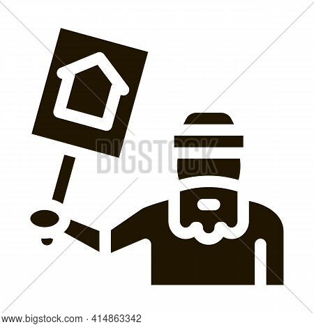 Homeless With Nameplate House Glyph Icon Vector. Homeless With Nameplate House Sign. Isolated Symbol