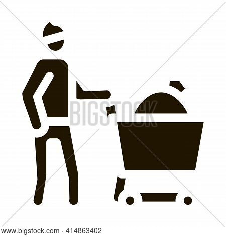 Homeless With Bag In Shop Cart Glyph Icon Vector. Homeless With Bag In Shop Cart Sign. Isolated Symb