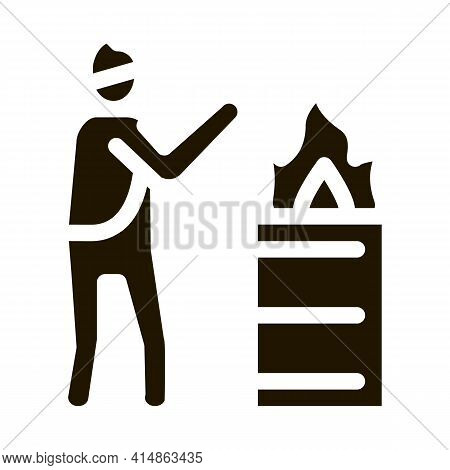 Homeless Warming Flame Glyph Icon Vector. Homeless Warming Flame Sign. Isolated Symbol Illustration