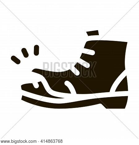 Homeless Torn Boot Glyph Icon Vector. Homeless Torn Boot Sign. Isolated Symbol Illustration