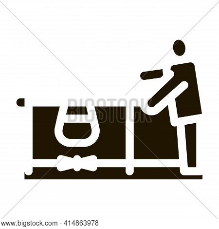 Human Boiling Nutrition On Camp Flame Glyph Icon Vector. Human Boiling Nutrition On Camp Flame Sign.