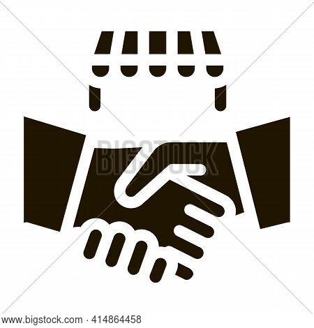 Franchise Handshake Glyph Icon Vector. Franchise Handshake Sign. Isolated Symbol Illustration