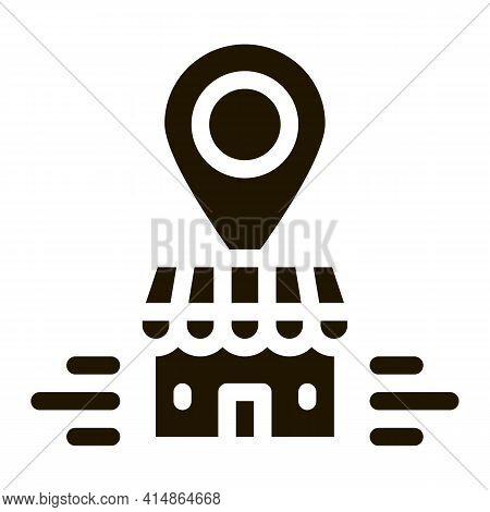 Franchise Building Location Gps Mark Glyph Icon Vector. Franchise Building Location Gps Mark Sign. I