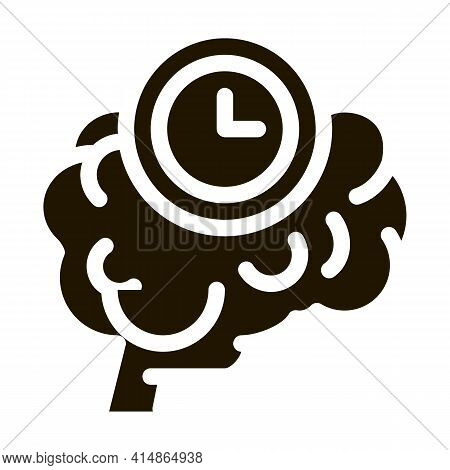 Brain Reaction Time Glyph Icon Vector. Brain Reaction Time Sign. Isolated Symbol Illustration