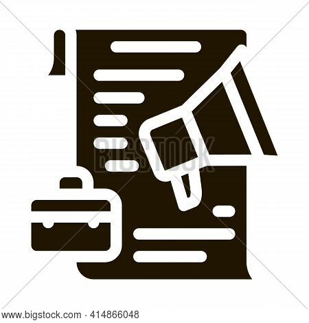 Business Contract Loudspeaker Glyph Icon Vector. Business Contract Loudspeaker Sign. Isolated Symbol