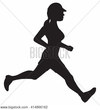 A Female With A Visor And Ponytail Is Jogging In Silhouette