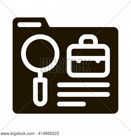 Folder Research Business Case Glyph Icon Vector. Folder Research Business Case Sign. Isolated Symbol