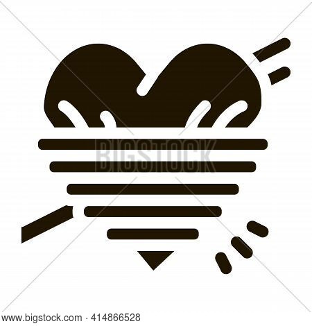 Heart Squeezed By Rope Glyph Icon Vector. Heart Squeezed By Rope Sign. Isolated Symbol Illustration