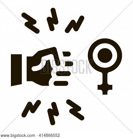 Hit Female Sex Glyph Icon Vector. Hit Female Sex Sign. Isolated Symbol Illustration
