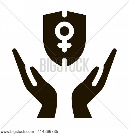 Protection Female Sex Glyph Icon Vector. Protection Female Sex Sign. Isolated Symbol Illustration