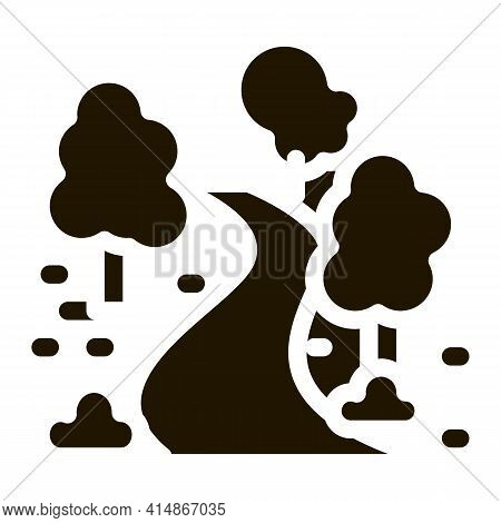 Park Alley And Trees Glyph Icon Vector. Park Alley And Trees Sign. Isolated Symbol Illustration