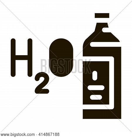 Water H2o Bottle Glyph Icon Vector. Water H2o Bottle Sign. Isolated Symbol Illustration