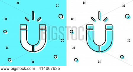 Black Line Magnet Icon Isolated On Green And White Background. Horseshoe Magnet, Magnetism, Magnetiz