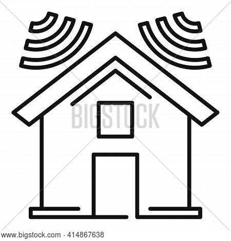 Soundproofing House Roof Icon. Outline Soundproofing House Roof Vector Icon For Web Design Isolated