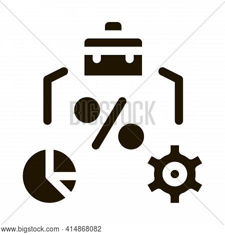 Percent Business Case Infographic And Gear Glyph Icon Vector. Percent Business Case Infographic And