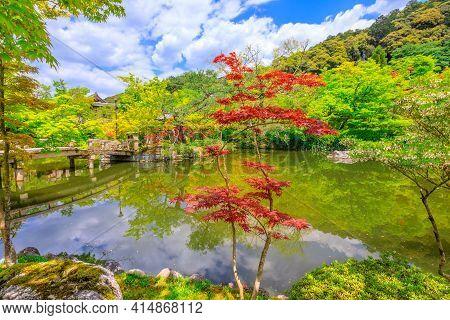 Kyoto, Japan - April 27, 2017: Maple Tree In Eikan-do Zenrin-ji Temple In Kyoto, Japan. Zenrin-ji Is