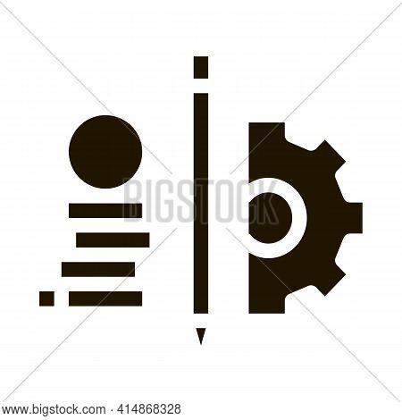 Coin Heap Pen And Mechanical Gear Glyph Icon Vector. Coin Heap Pen And Mechanical Gear Sign. Isolate