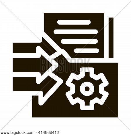 Document Adding In Folder Glyph Icon Vector. Document Adding In Folder Sign. Isolated Symbol Illustr