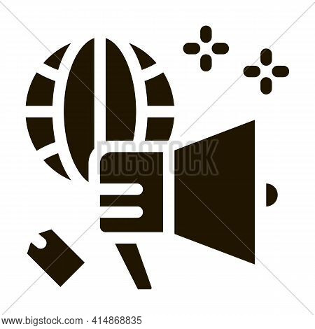 Worldwide Price Loudspeaker Glyph Icon Vector. Worldwide Price Loudspeaker Sign. Isolated Symbol Ill