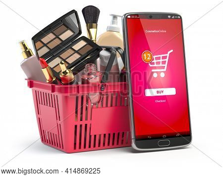 Cosmetics and beauty products buying online concept. Shopping basket with makeup products and mobile phone with app for buying on the screen. 3d illustration