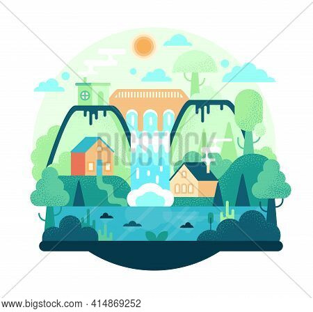Cartoon Illustration In Flat Style With Hydroelectric Power Plant, Dam With Hydro Turbine, Houses, M