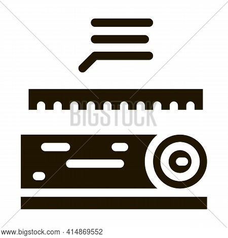 Wood Trunk Size Glyph Icon Vector. Wood Trunk Size Sign. Isolated Symbol Illustration