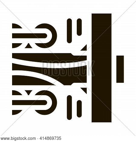 Wood Trunk Grinding Glyph Icon Vector. Wood Trunk Grinding Sign. Isolated Symbol Illustration