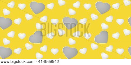 Gray And White Paper Hearts On A Yellow Background. Colors Of 2021. Gray And Yellow. Seamless Patter