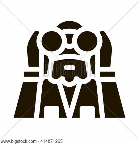 Forester Looking Binoculars Glyph Icon Vector. Forester Looking Binoculars Sign. Isolated Symbol Ill