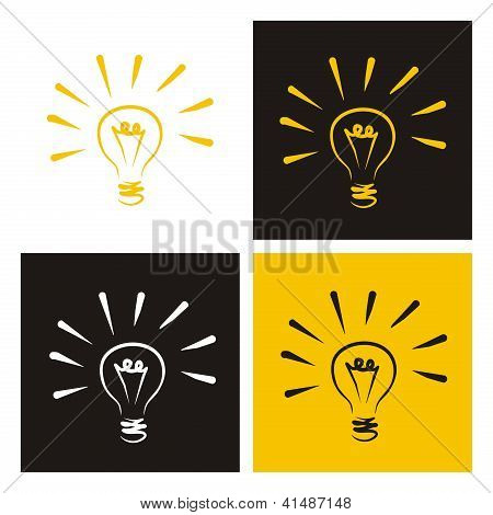 Light bulb vector icon - hand drawn doodle set isolated on white, black and yellow background