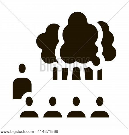 People Visit Forest Glyph Icon Vector. People Visit Forest Sign. Isolated Symbol Illustration
