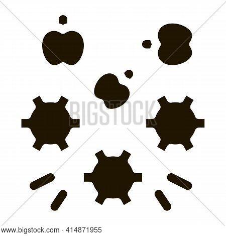 Apple Fruit On Conveyor Glyph Icon Vector. Apple Fruit On Conveyor Sign. Isolated Symbol Illustratio