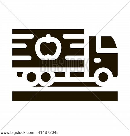 Juice Concentrate Delivering Truck Glyph Icon Vector. Juice Concentrate Delivering Truck Sign. Isola