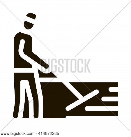 Worker Road Repair Glyph Icon Vector. Worker Road Repair Sign. Isolated Symbol Illustration