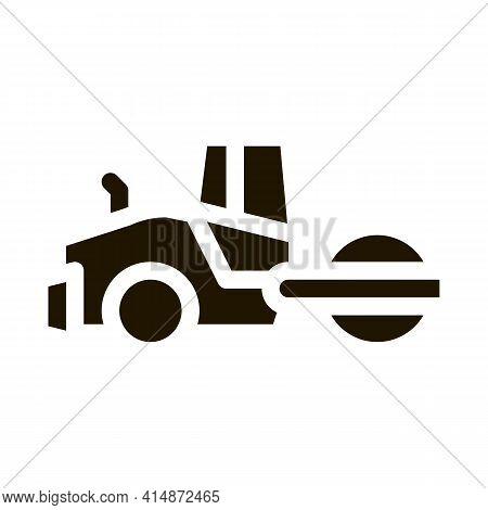 Road Repair Pavering Tractor Glyph Icon Vector. Road Repair Pavering Tractor Sign. Isolated Symbol I