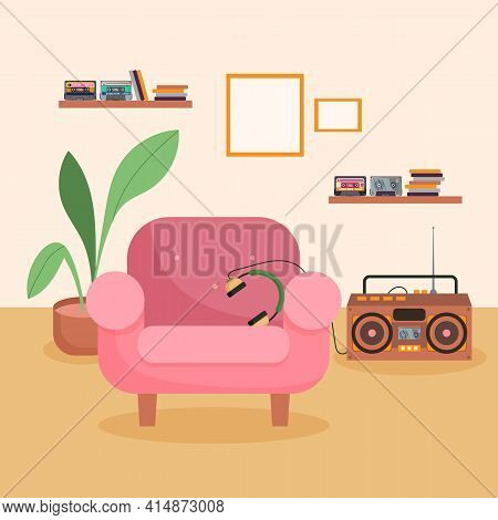Tape Recorder And Cassettes In Living Room Illustration. Tapes, Discs On Shelves, Headphones On Chai