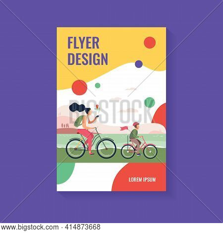 Mom And Son Riding Bikes Along Seacoast. Woman Checking Route On Mobile App Flat Vector Illustration