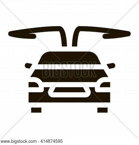 Electro Car Opened Doors Glyph Icon Vector. Electro Car Opened Doors Sign. Isolated Symbol Illustrat