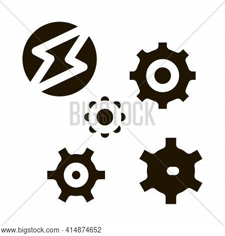Electro Car Lightning And Gears Glyph Icon Vector. Electro Car Lightning And Gears Sign. Isolated Sy