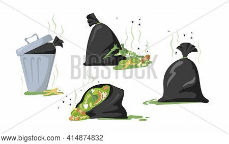 Set Of Cartoon Black Bags And Dumpsters With Trash And Garbage. Flat Vector Illustration. Collection