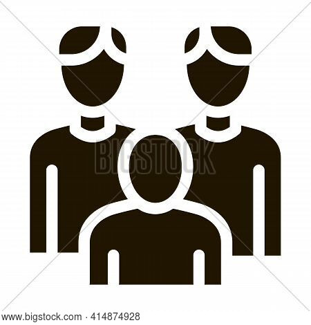 Men Homosexual Family And Child Glyph Icon Vector. Men Homosexual Family And Child Sign. Isolated Sy