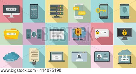 Multi-factor Authentication Icons Set. Flat Set Of Multi-factor Authentication Vector Icons For Web