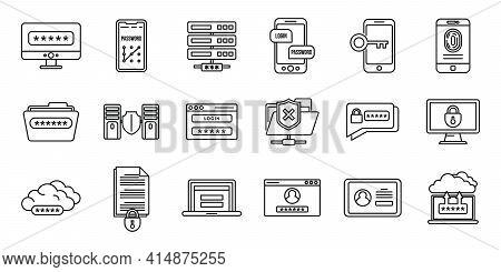Online Multi-factor Authentication Icons Set. Outline Set Of Online Multi-factor Authentication Vect