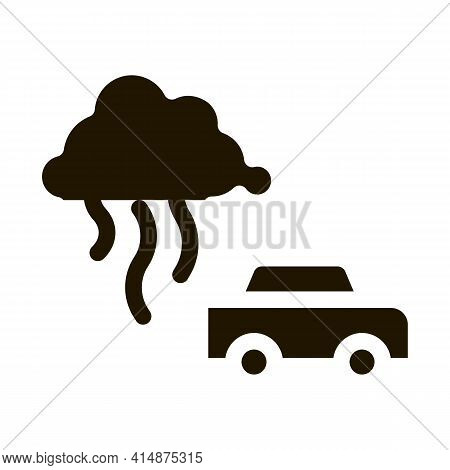 Car Smog Smoke Glyph Icon Vector. Car Smog Smoke Sign. Isolated Symbol Illustration