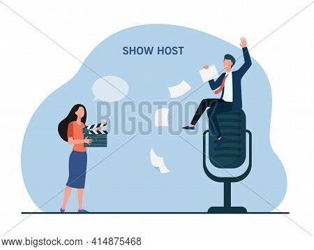 Tiny Show Host Sitting On Giant Microphone. Interview, Television, Media Flat Vector Illustration. E