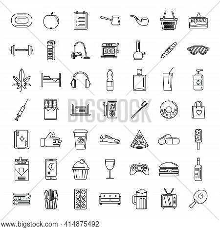 Habit Nutrition Icons Set. Outline Set Of Habit Nutrition Vector Icons For Web Design Isolated On Wh