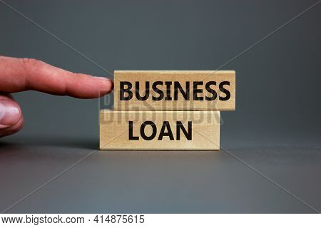 Time To Business Loan. Concept Words 'business Loan' On Wooden Blocks On A Beautiful Grey Background