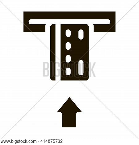 Card Insert In Bank Terminal Glyph Icon Vector. Card Insert In Bank Terminal Sign. Isolated Symbol I